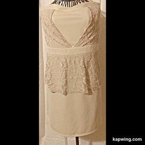 NWT Strapless Peplum Dress Lace Accent Knee Length